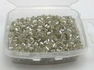 5000-Glass-Tube-Bugle-Seed-Beads-2X2mm-White-Silver-Lined-Storage-Box