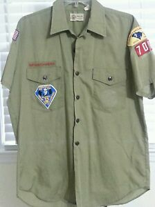 Vtg-Official-Boy-Scouts-Shirt-Patches-80s-Olive-Coastal-Council-Halloween