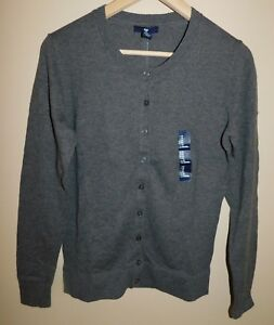 NWT-Gap-Women-039-s-Crew-Cardigan-Charcoal-Grey-Small-MSRP-35-Free-Shipping-New