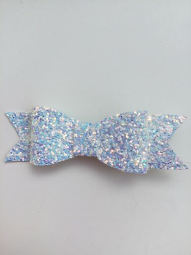 Wedding Flower Girls Small 3.5 Girls Hair Bow Clip Sparkly Faux Leather Bow