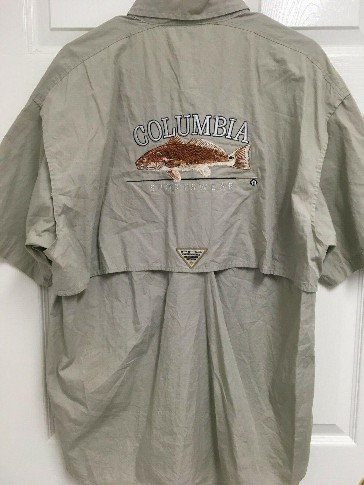COLUMBIA SPORTSWEAR Fish Image Logo Men Khaki PFG Vented Button Front Shirt L