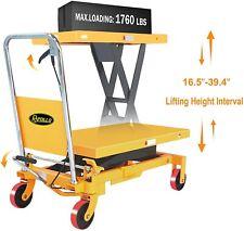 Apollolift Single Scissor Lift Table Hand Hydraulic Cart Truck 1760lbs Capacity