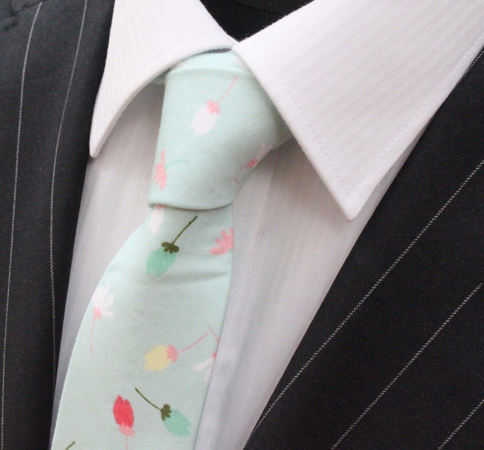 Tie Neck tie Slim Pale Blue with Multi Floral Quality Cotton T6188