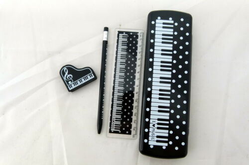 Ruler and Eraser... Music Themed Piano Black Pencil Case with Mechanical Pencil