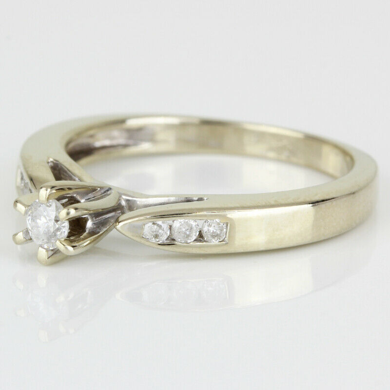 14k Gold Diamond Solitaire Ring w/ Accents - image 3