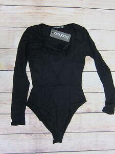 2b286f8937e7 Boohoo Women's Aleena Cross Strap Plunge Bodysuit US 2 Black NWT | eBay