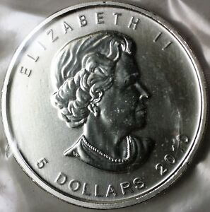2010-Canada-5-Five-Dollars-999-Maple-Leaf-Silver-BU-Queen-Elizabeth-II-Coin