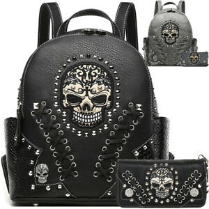 dc02f60a58 Sugar Skull Punk Art Rivet Studded Biker Purse Women Python Backpack ...