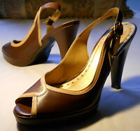 "BCB Girls Woman's Size 9B Brown Leather Slingback Open Toe 5"" Heels"