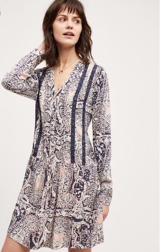 NEW Anthropologie Tiny Caviana Shirt Dress Drop Waist Größe Medium