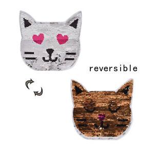 1x-chat-Reversible-sequins-patches-applique-deux-changement-de-couleur