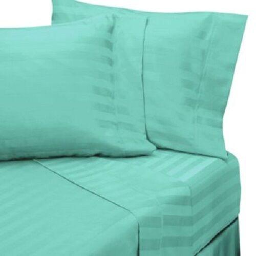 Fitted Sheet Super King Size Aqua Stripe 1000 TC Egyptian Cotton Duvet Set