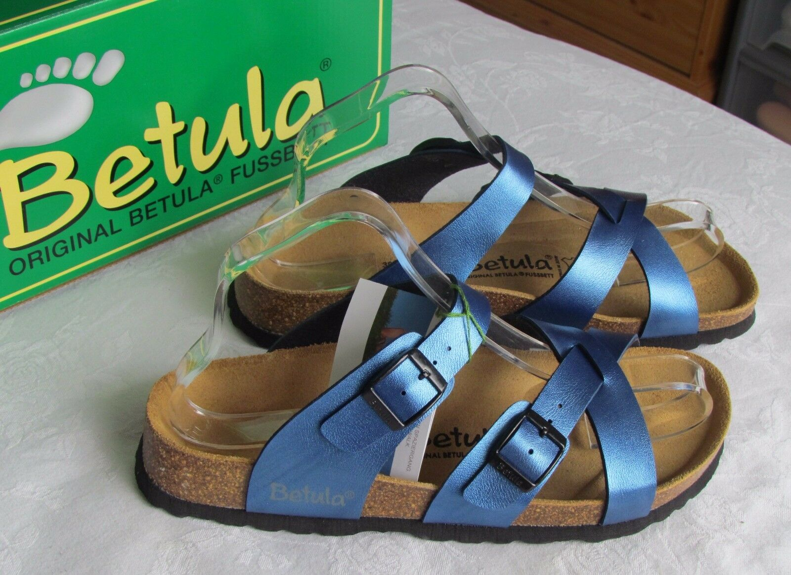 Nuevo Betula By Birkenstock Ladies Metálico Azul Mulas Sandalias UK Size 5.5