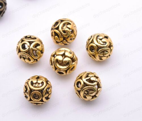 Tibetan Silver Round Shaped Heart Hollow Spacer Bead Findings 12mm F3000