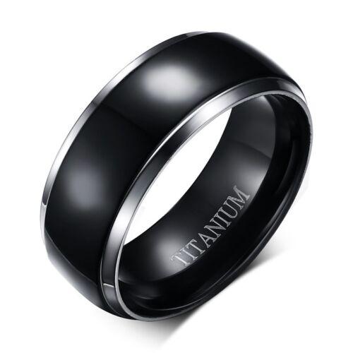 Noir Classique 100/% Titane Bijoux Bande homme 8 mm Fête De Fiançailles Bague SZ 7-13
