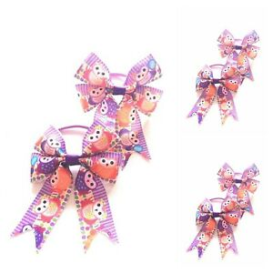 SALE Girls Owl  Hair Bow Bobbles Sold In Pairs Handmade