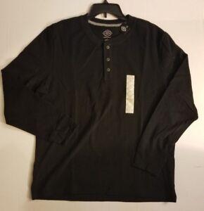 St-Johns-Bay-Men-039-s-Black-Long-Sleeve-Henley-Shirt-S-M-L-XL-XXL-NWT-SHIPS-FAST