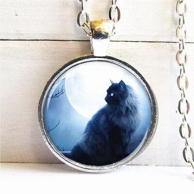 Vintage Black Cat Cabochon Tibetan silver Glass Chain Pendant Necklace @G01