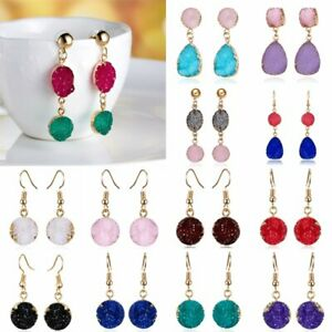 Natural-Stone-Crystal-Rhinestone-Geometry-Round-Resin-Earrings-Charm-Jewellery