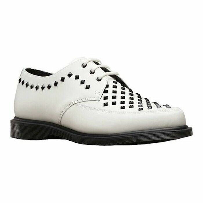 Dr. Martens Smooth White Leather Willis Stud Creeper Oxford 3 Eye Lace Up NWT