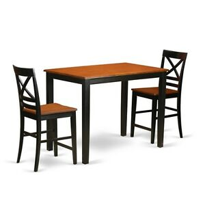Genial Details About 3 Piece Counter Height Pub Set   High Table And 2 Counter  Height Dining Chair.