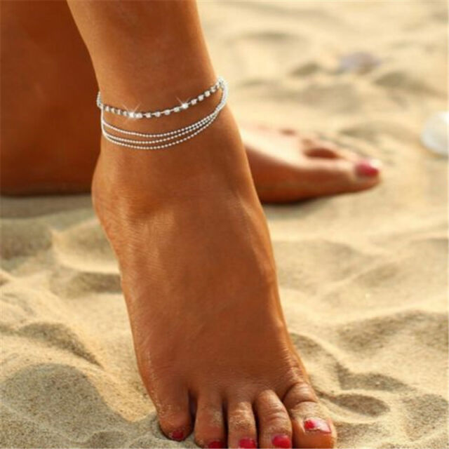 5e3c7e413 2017 New Sparkly 4 Layers Crystal Beads Sandal Beach Anklet Ankle Foot Chain