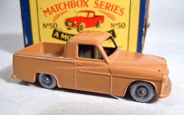 MATCHBOX rw50a COMMER PICK-UP marron rare argentées argentées argentées Roues dans