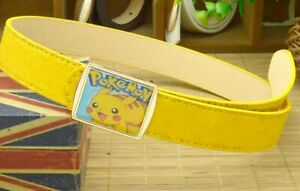 Boys-Kids-Children-Synthetic-Leather-Casual-Pants-Buckle-Pokemon-Pikachu-Belt