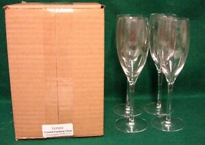 Lenox-Crystal-CRYSTAL-FANTASY-CLEAR-Champagne-Flutes-SET-OF-FOUR-NEW-in-BOX