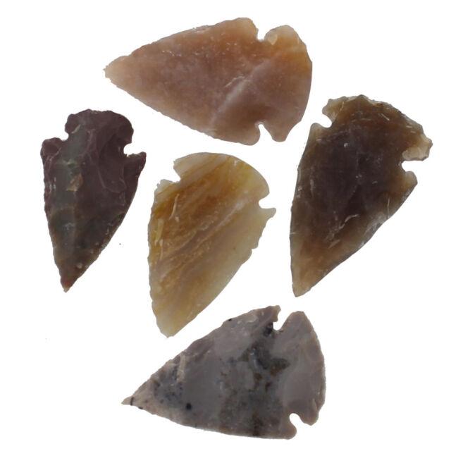 Medieval Flint Agate Arrowhead 5 Piece Set 2 Inch