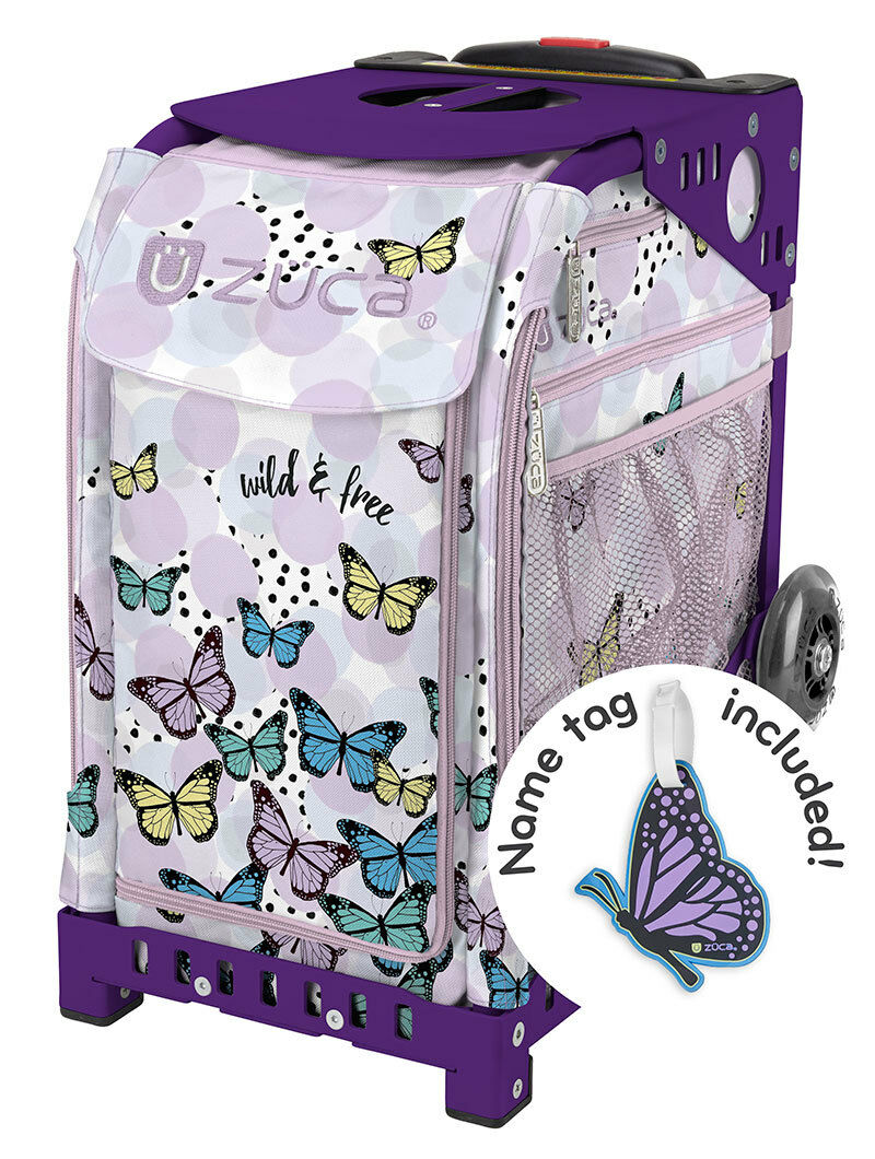 ZUCA Bag  WILD & FREE Insert & Purple Frame w Flashing Wheels - FREE SEAT CUSHION  store sale outlet