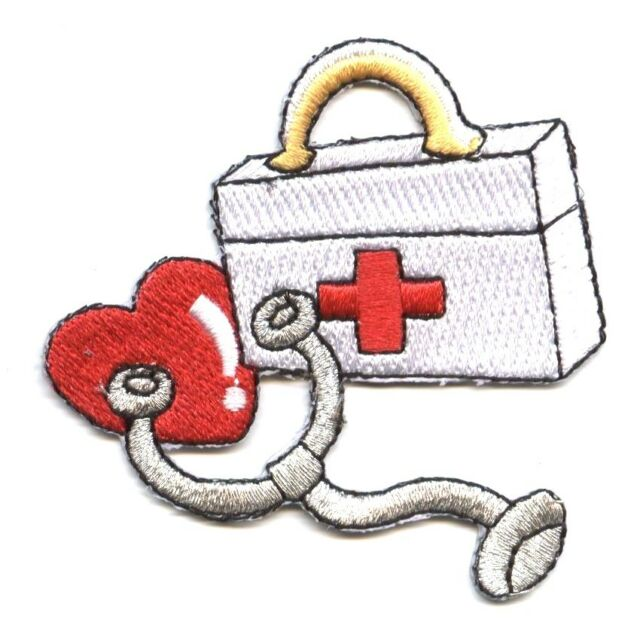 "#4439 7//8/""x1 1//8/"" First-aid Kit Embroidery Iron On Applique Patch"