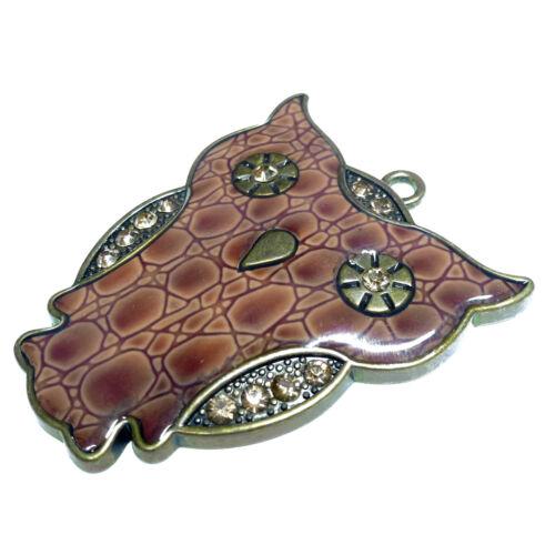 Colgante lechuza 54mm metal con pedrería de latón marrón perlas nenad-Design r036