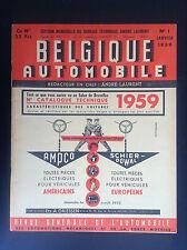 RARE revue Belgique automobile N° 1 1959 TTBE auto Aston Martin Ferrari Maserati