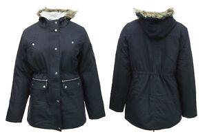 Størrelse Lined Parker Parka Kvinders Navy Plus slikke Ny Hood Lang Jakke Fleece Frakke 5HgTOqg