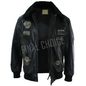 Mens-Black-Real-Leather-Bomber-Aviator-Badge-Design-Pilot-Jacket-Removable-Fur
