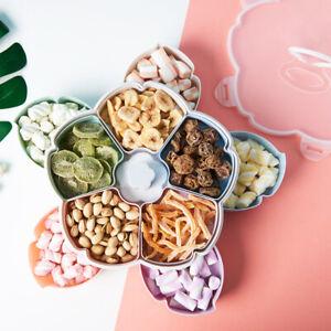 Sn-2-Couche-Rotatif-Fleur-Bonbon-Boite-Seche-Ecrou-Plaque-Snack-Portion-Support
