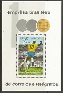 bresil-1969-Pele-039-s-1000th-Goal-MINIATURE-feuille-Sg-ms1278-inutilise