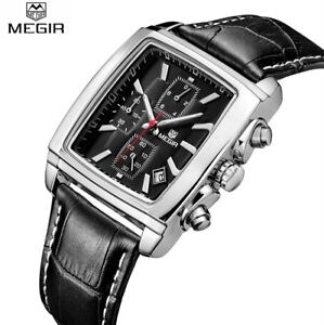 MEGIR-Men-Quartz-Watch-Rectangle-Dial-Date-Display-Sport-Leather-Wristwatch