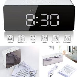 NEW-Mirror-Digital-LED-Snooze-Alarm-Clock-Time-Temperature-Night-Mode-fr