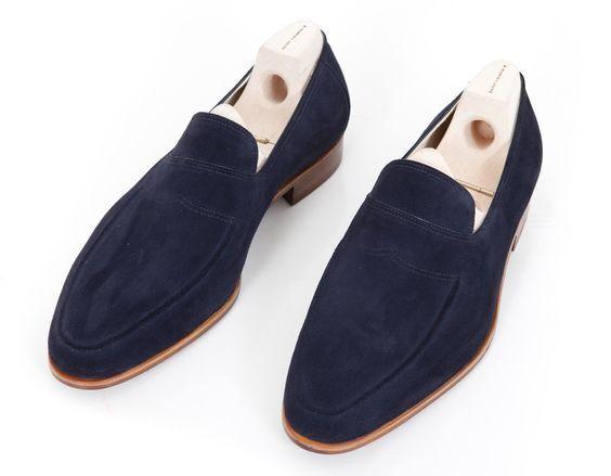 Handmade Uomo Navy blue suede ons Scarpe moccasins, Uomo blue casual Scarpe slip ons suede a30293