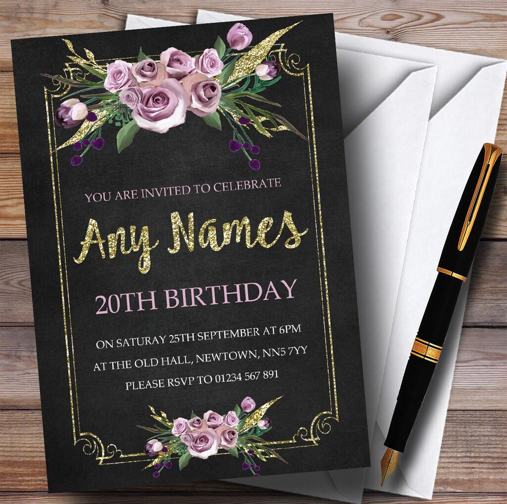 GESSO Effetto oro rosa Floreale 20th Personalizzati Festa di Compleanno Compleanno Compleanno Inviti 1c5e25
