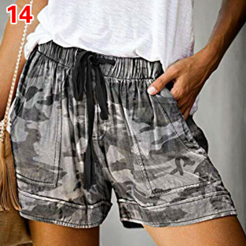 Women Elastic High waist Summer Shorts Casual Loose Lace-up Plus Size A12CA
