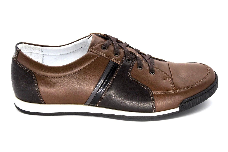 28 UK 7 Nuevo Hombre Cuero Real Marrón Zapatillas zapatillas Diseño Italiano EU 41