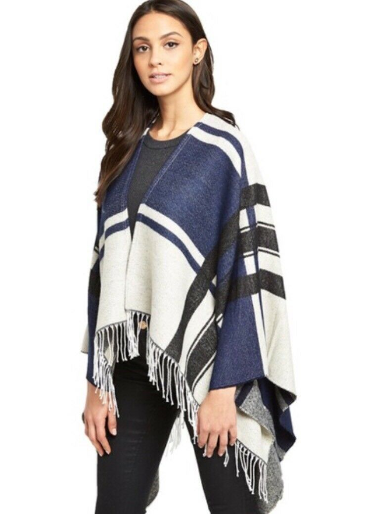 Superdry Sand Deep Indigo Arizona Blanket Cape Poncho BNWT bluee & Cream
