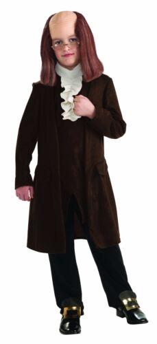 Benjamin Franklin Colonial Costume 4 Pc Brown Coat Waistcoat Pants /& Glasses
