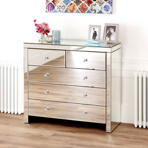 Image Is Loading Venetian Mirrored Glass 2 Over 3 Drawer Chest