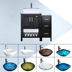 36 Bathroom Vanity Set Small Side Cabinet Vessel Sink W Mirror Faucet Combo Ebay
