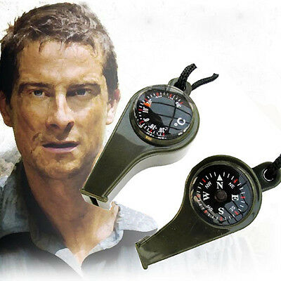 Whistle Compass Thermometer 3 in 1 Camping Hiking Emergency Survival Gear