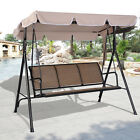 COSTWAY 3 Person Patio Swing Outdoor Canopy Awning Yard Furniture Hammock Steel